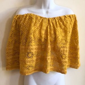 Free People Mustard Gold Crochet Strapless Top L